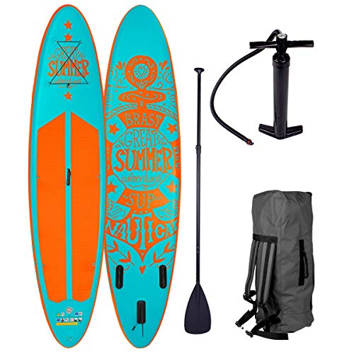 BRAST Stand up Paddle Gonflable Adulte Rigide Summer Turquoise 10'6 20psi 120kg Drop Stitch 15cm epaisseur kit Complet – Planche Gonflable Sup 320x76x15cm