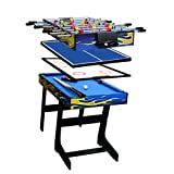 IFOYO Multi Function 4 in 1 Combo Game Table, Folding Game Table with Steady Soccer Foosball Table, Pool Table, Hockey Table, Table Tennis Table, Yellow Flame, 48in