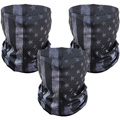 PAMASE 3 Pcs American Flag Outdoor Face Mask- Multifunctional Seamless Microfiber American Flag UV Protection Face Neck Shields Headwear for Men&Women Motorcycle Hiking Cycling Ski Snowboard(Grey)