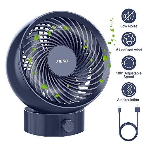 Aerb Mini Tischventilator, USB Ventilator, Automatische Oszillierend Desktop Lüfter mit Unendliche Geschwindigkeit, Schreibtischventilator perfekt für Zuhause, Büro,Schule - blau