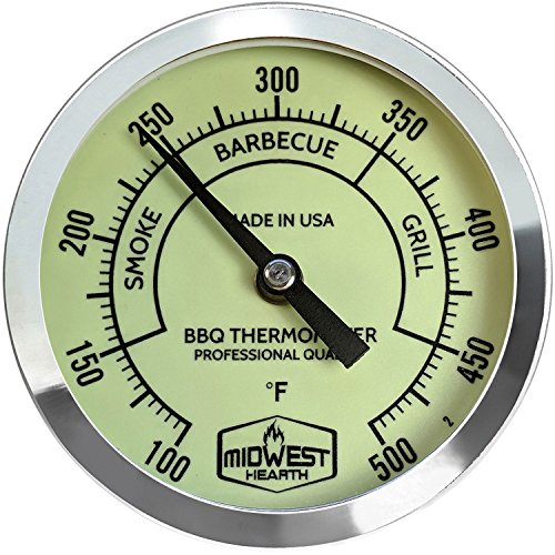 Midwest Hearth BBQ Smoker Thermometer for Barbecue Grill, Pit, Barrel 3' Dial (4' Stem Length, Glow Dial)