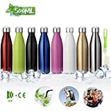 king do way Insulated Stainless Steel Water Vacuum Bottle Flask Double-Walled with a Brush for Outdoor Sports Hiking Running, 500ml /18 oz (Sliver)