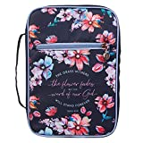 Christian Art Gifts Fashion Bible Cover Word of God Stands Forever Isaiah 40:8 Floral Nylon, Navy, Medium