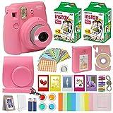 Fujifilm Instax Mini 9 Instant Kids Camera Flamingo Pink with Custom Case + Fuji Instax Film Value...
