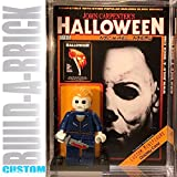 Build-A-Brick Halloween Michael Myers Custom Mini Action Figure w/ Display Case, UV Protected 2-Sided Custom Collectible Movie Poster Card Gift for Boys & Adult Vintage Toy Collector Horror Series
