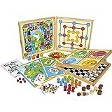 Jeujura - 8120- Jeux de Société-Coffret de Jeux Classiques - 80 Regles - Pions Bois