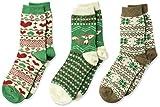 Muk Luks Women's 3 Pair Pack Holiday Boot Socks, emerald isle pack, OSFM