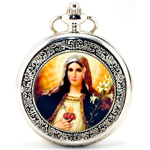 Infinite U Retro Santísima Católica La Virgen María Plateado Hueco Esqueleto Reloj de Bolsillo Mecánico