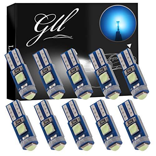 GLL 10pcs Blu Ghiaccio T5 LED 3030 3SMD W1.2W W3W Lampadine per Cruscotto 120 Lumen