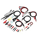 Akozon P1260D Oscilloscope Multimeter Test Leads with Crocodile Clips Replaceable Probe Tips Set Multimeter Cable Clamp Replaceable Probe Test Lead Kits with Alligator Clips