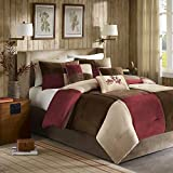 Madison Park Cozy Comforter Set Casual Blocks Design All Season, Matching Bed Skirt, Decorative Pillows, Queen(90'x90'), Red Brown, 7 Piece