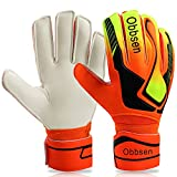 OBBSEN Goalkeeper Goalie Gloves for Youth& Adult Soccer Gloves with Finger Protection to Prevent Injuries Strong Grip Gloves (Orange, 9)