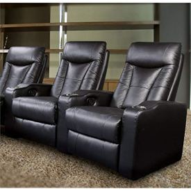 Coaster Pavillion Leather Home Theater Seating in Black