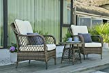 N&V Wicker Patio Furniture Rattan Conversation Chairs Bistro Sets with Table & Cushions for Outdoor Indoor Use Porch Backyard Garden 3 Pieces