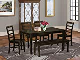East West Furniture 6 Pc Set Table and 4 Dining Chairs and Bench, 6-piece, Cappuccino Finish