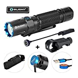 OLIGHT M2R Warrior Pro 1800 Lumens USB Magnetic Rechargeable Dual Switches Tactical Flashlight, 300 Meters Throw, Powered by 5000mAh 21700 Battery, Remote Pressure Switch and E-WM25 Mount Included