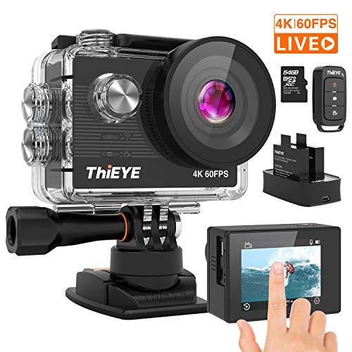 ThiEYE Action Cam T5 PRO Diretta Streaming 4K 60fps WiFi 20MP Rotazione 360 Grandangolare 170 8 Volte Zoom 2.0'' Ultra HD Touch Screen 60M Subacquea con Telecomando 1100mAh Batterie Kit Accessori