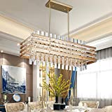 TZOE Modern Rectangle Chandelier,Crystal Chandeliers for Dining Rooms,L29.1' x W11.4' x H48.5',6 Light,Adjustable Height