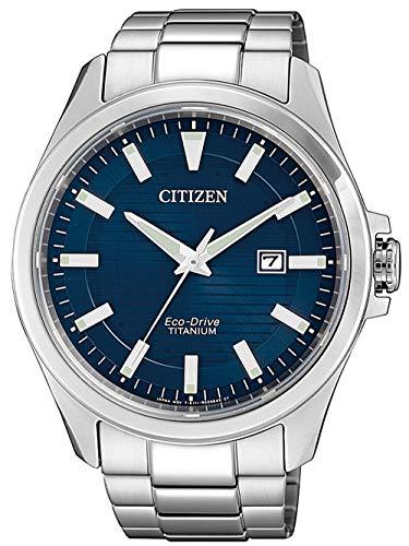 Citizen Herren Analog Eco-Drive Uhr mit Super Titanium Armband BM7470-84L
