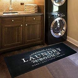 USTIDE Black Laundry Room Rug Nonslip Rubber Backed Laundry Floor Mat Wat