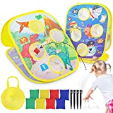 Magicfun Bean Bag Toss Game, Corn-Hole-Boards Indoor Outdoor Games for Kids Toddlers, Dinosaurs & Marine Animals Themes with 8 Beanbags 4 Suction Cups 4 Ground Nails(Double Sided)