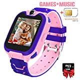 Kids Games Music Camera Smartwatch Phone for Girls Boys Birthday with SOS Call Alarm,1.54 inch Touch Screen Fits for 3-12 Children Included SIM Card and SD Card
