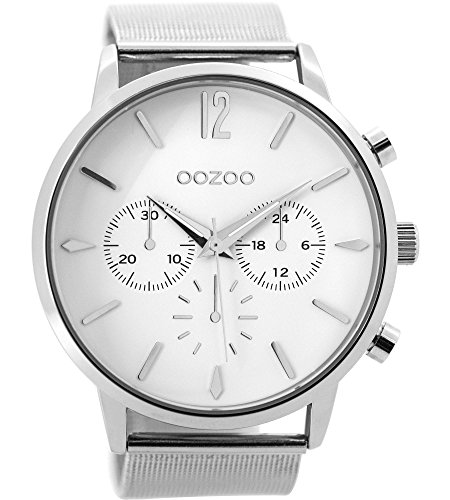 Oozoo Herrenuhr mit Metallband 48 MM Weiss/Silberfarben C9460