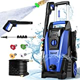 Suyncll Pressure Washer, 3800PSI Electric Power Washer, 2000W High Pressure Washer, Professional Washer Cleaner, with 4 Nozzles, Soap Bottle and Hose Reel, Best for Cleaning Cars,Driveways,Patios
