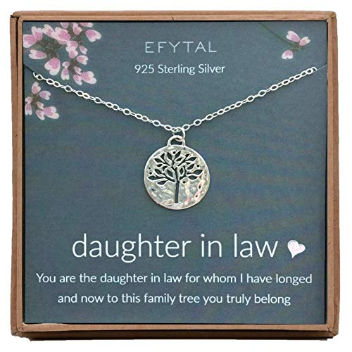 EFYTAL Daughter In Law Gifts, Sterling Silver Tree of Life...