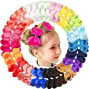 Package includes: 40 PCS ( 20 Colors in Pairs) girls hair bow clips;thanksgiving day gift set for your girls or family who have a baby! Girls Hair Bows Size: Approx 4.5 Inches as shown in the picture 3(ATTENTION,Handmade bow width approx 4.5 inches(a...