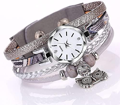 ZFAYFMA Frauen Armbanduhr, Multicolor Geflochtene Lederarmband Antike Silber Eule Anhänger Frau Geburtstag Hochzeit Geschenk Grey