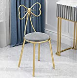 Modern Makeup Vanity Chair Stool,Cute Butterfly Stool Chair Ottoman Bench Metal Bench Legs Gold Dining Chair for Kitchen Bedroom Living Room (Gray)
