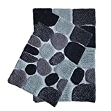 ,2-Piece Pebbles Cotton Bath Rug Set - 100% Pure Cotton Bath Mat Rug - 21x32/17x24 - Soft Absorbent Machine Washable - Charcoal,Rugs for Living Room, Bath Rugs Kids, Entry Rugs