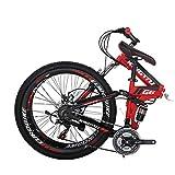 """26"""" Full Suspension Mountain Bike 21 Speed Folding Bicycle Men or Women MTB (G6 Red)"""