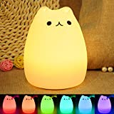 iKALULA Veilleuse Enfant Chat LED, Lampe de Chevet e Nuit Portable en Silicone Multicolore LED Veilleuse...