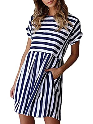 Material: Polyester + Spandex,Soft and Lightweight Feature: Classic A-line Dress with Popular Stripe Printing,Hidden Slant Pocket At Sides and Flowy Pleated Swing Hem,Above Knee Length Casual Short Sleeve T-shirt Dress Stripes Printing Play An Import...