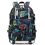 GOYING Uzumaki Naruto/Uchiha Itachi/Sharingan Anime Cosplay Bookbag College Bag Mochila Mochila Escolar con Puerto de Carga USB-B