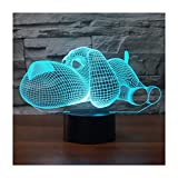 3D Lámpara óptico Illusions Luz Nocturna, EASEHOME LED Lámpara de Mesa Luces de Noche para Niños Decoración Tabla Lámpara de Escritorio 7 Colores Cambio de Botón Táctil y Cable USB, Perro