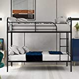Bunk Bed,Metal Bunk Bed Frame with Safety Guardrail Climbing Ladder Easy to Assemble Saving Space, No Need for A Spring Box