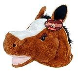 American Carnival Mart Hat-A-Mals Soft Plush Horse Head Mascot Hat Brown, White