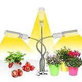 Mejora la luz de crecimiento con temporizador de encendido/apagado automtico 3/6/12 h, 156 LED Lmpara de crecimiento de espectro completo similar al sol, luz de planta de 3 cabezales