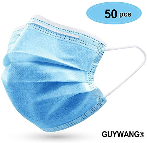 0Pcs Disposable 3-Layer Masks, Anti Dust Breathable Disposable Earloop Mouth Face Mask, Comfortable Medical Sanitary Surgical Mask Blue