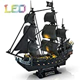 CubicFun 3D Puzzle Pirate Ship with LED Light Queen Anne's Revenge, Sailboat Vessel Model Kits Difficult Puzzles for Adults and Children, 340 Pieces