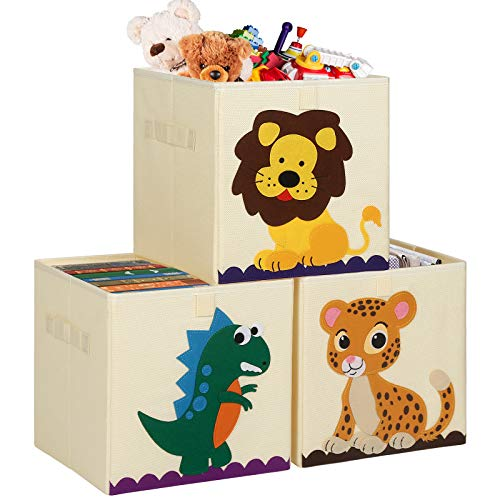 TomCare 3 Pack Storage Cubes Toys Storage Bins Kids Cube Storage Bins Storage Organizer Baskets Containers Box Foldable Fabric Cloth Toy Organizer for Baby Toddler Kid Child Dinosaur Lion Tiger