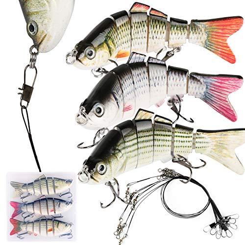BHGT 3 Pezzi Esche Artificiali Spinning 9 Pezzi Leader Filo da Pesca Nero Mare Scatola Esca Finta Esche da Pesca a pi Sezioni Dura con Ganci
