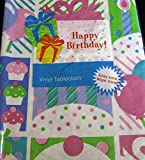Happy Birthday Cupcakes, Candles and Balloons Flannel Back Vinyl Tablecloths By Elrene- Assorted Sizes (52 x 52 Square)
