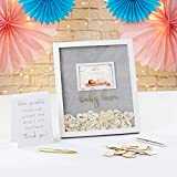 Kate Aspen Baby Guest Book Alternative,with 30 Blank Wooden Hearts,a Traditional Guest Book, Picture Frame, and Display Easel