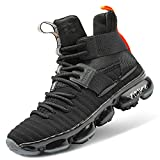 WETIKE Kids Basketball Culture Shoes Air-Cushion Comfortable Sneakers for Boys Breathable Girls Basketball Shoes Non-Slip High Top Casual Fashion Shoes for Boys Tennis Shoes Size 5 Black