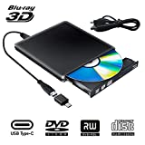 Externe Graveur Lecteur CD DVD Blu Ray 3D USB Type C USB 3.0 Ultra Slim de DVD...