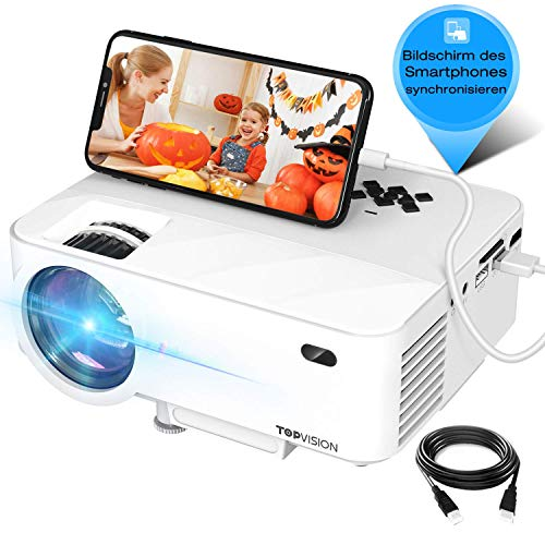 "Mini Beamer, TOPVISION Synchronize Smartphone Screen Video projektor, 1080P unterstützt, 176"" Display, 50000 Stunden LED, kompatibel mit HDMI / USB / TV / DVD für Home Entertainment Office"
